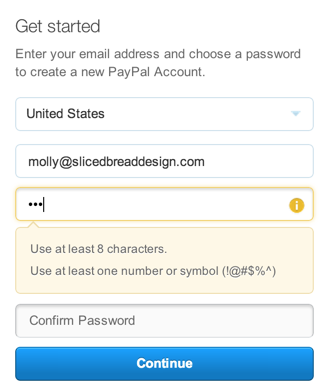 PayPal passwords